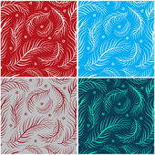 Set of seamless patterns with feathers — Stock Vector