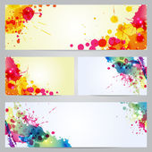 Set of banners and business cards with blots — Stock Vector