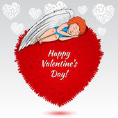 Valentines angel dreaming on the heart — Vector de stock