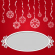 Red Christmas background with snowflakes and empty frame — Stok fotoğraf