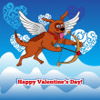 Flying cupid dog with bow and arraw — Stock Photo