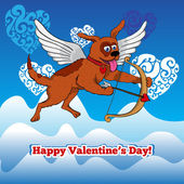 Flying cupid dog with bow and arraw — ストック写真
