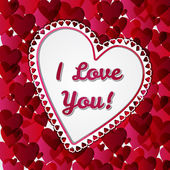 Greeting Valentines days card with hearts — Stock Photo