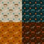 conjunto de padrões sem emenda de café — Vetorial Stock
