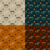 Set of coffee seamless patterns — Stock Vector