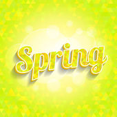 Spring triangles pattern with word and bokeh — Stock Vector