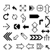 Set of pixel arrow symbol — Stock Vector
