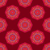 Ethnic seamless round pattern with triangles — Stok Vektör