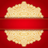 Gold and red round ornament invitation pattern — Stock Vector