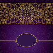 Abstract gold and violet invitation frame — Stock Vector
