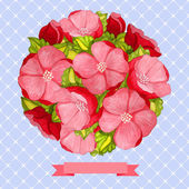 Round vintage watercolor bouquet of pink flowers — Stock Vector