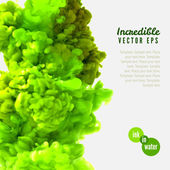 Incredible vector green ink in water — Vector de stock