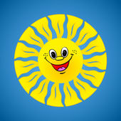Yellow smiling sun on summer background — Stock Vector