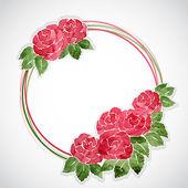 Blommig ram av rosa akvarell rosor — Stockvektor