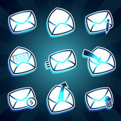 Set of icons messages envelop for email — Stock Vector
