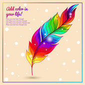 Colorful bright feather with lights rainbow — Stock Vector
