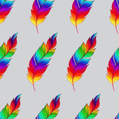 Seamless pattern with rainbow feathers — 图库矢量图片