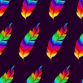 Seamless pattern with rainbow feathers — Vector de stock