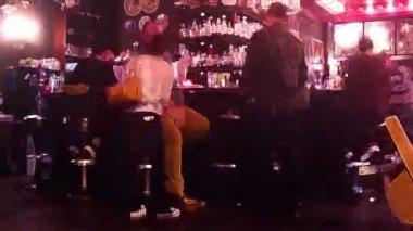 Socialising at local bar — Stock Video