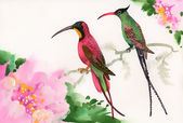 Watercolor painting of birds sitting on a branch — Stock Photo
