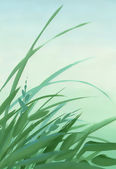 Green leaves illustrated background — Stock Photo