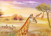 Illustration of animals in savannah — Stock Photo