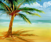Watercolor drawing of a palm tree — Stock Photo