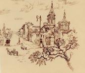 Szkic starego citylife i kościół — Zdjęcie stockowe