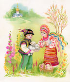 Boy and girl with rabbit — 图库照片