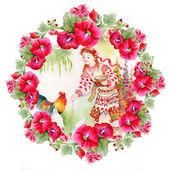 Молодая девушка в традиционных костюмах — Стоковое фото