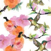 Wilde Vögel und Blumen — Stockfoto
