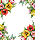 Colorful floral seamless frame — Stock Photo