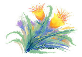Watercolor spring flowers — Stock Photo