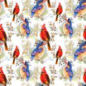 Aves y flores de patrones sin fisuras — Foto de Stock