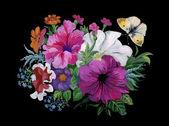 Mariposa y ramo de flores acuarela — Foto de Stock
