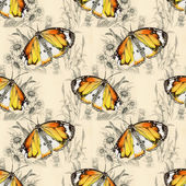 Butterflies picture pattern with flowers — Stock Photo