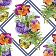 Pansies with butterflies — Stock Photo #47272091