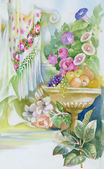 Watercolor flowers and fruits — 图库照片