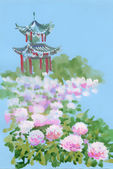Japanese castle with flowers — Stock Photo