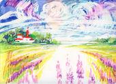 Watercolor Rural scene — Stock Photo