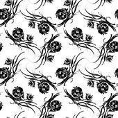 Black flowers pattern — Stock Photo