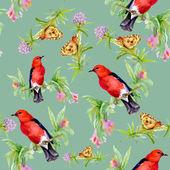 Pássaros com borboletas e flores silvestres — Fotografia Stock