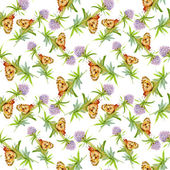Wildflowers with butterflies — Stock Photo