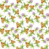 Flores silvestres con mariposas — Foto de Stock