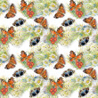 Seamless pattern with butterflies and flowers — Stock Photo #50676809