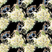 Seamless pattern with butterflies and flowers — Stock Photo