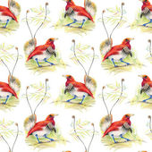 Birds and flowers seamless pattern — Stock Photo