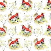 Vögel und blumen nahtlose muster — Stockfoto