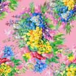Watercolor wild field flowers pattern — ストック写真