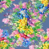 Watercolor wild field flowers  pattern — Stock Photo